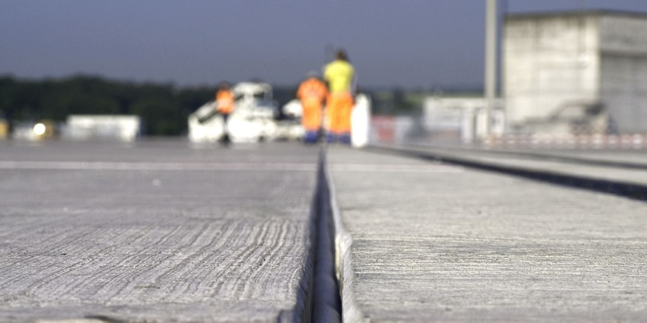 Joint in concrete runway at Zurich airport
