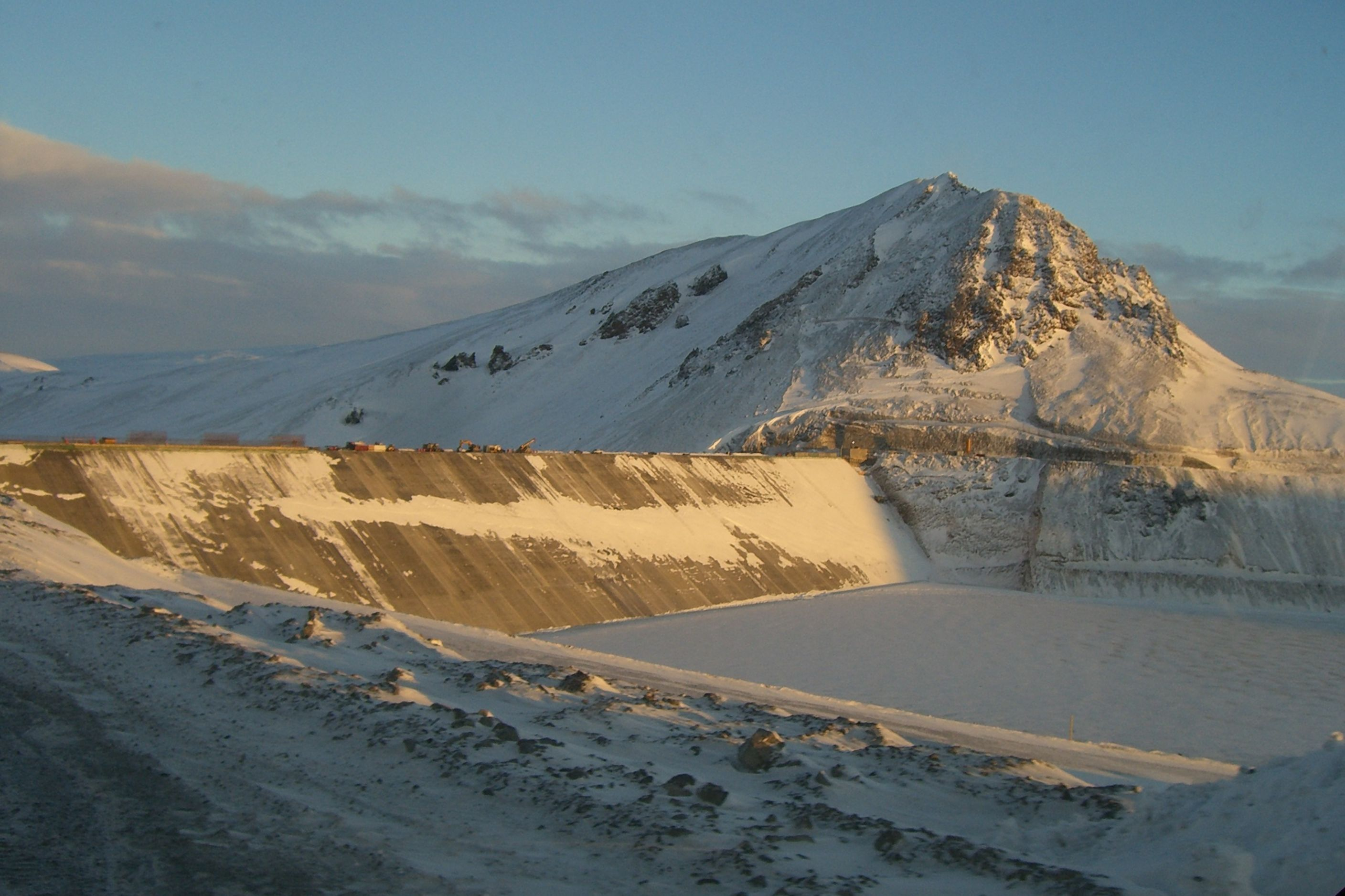 Karahnjukar Hydropower Plant in arctic winter in Iceland