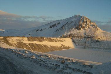 Karahnjukar Hydropower Plant in arctic winter in Iceland