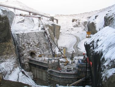 Construction site of Karahnjukar Hydropower Plant under arctic conditions in Iceland