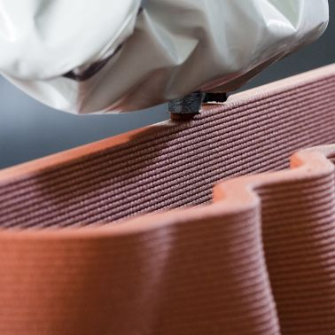3D concrete printing of a red element with Sika admixtures