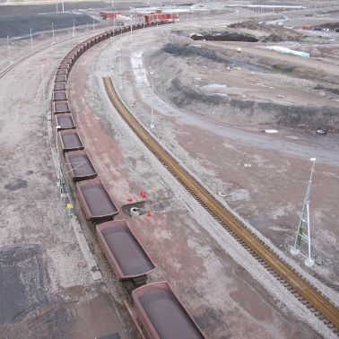 Iron ore in form of fines and pellets is transported by rail to the ports of Narvik in Norway and Luleå, Sweden