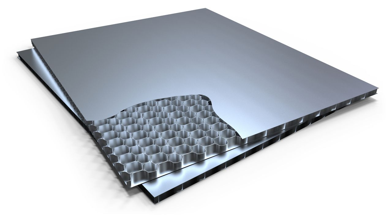 bonded aluminium honeycomb panel with cutaway section