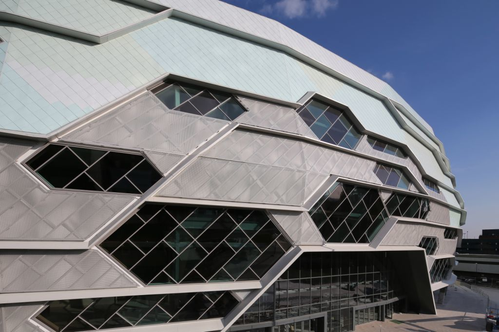 Single-ply roof PVC membrane of Sarnafil adhered roofing system installed on Leeds Arena in UK