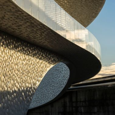 Facade covered with tiles of Leixoes Cruise Terminal in Porto