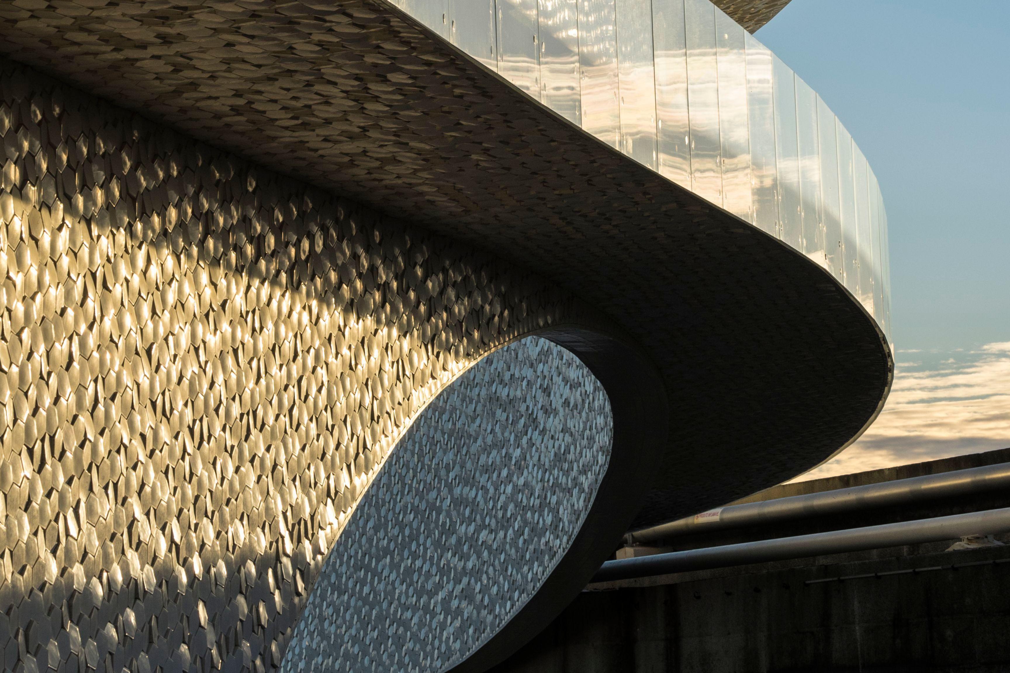 Facade covered with tiles of Leixoes Cruise Terminal in Porto