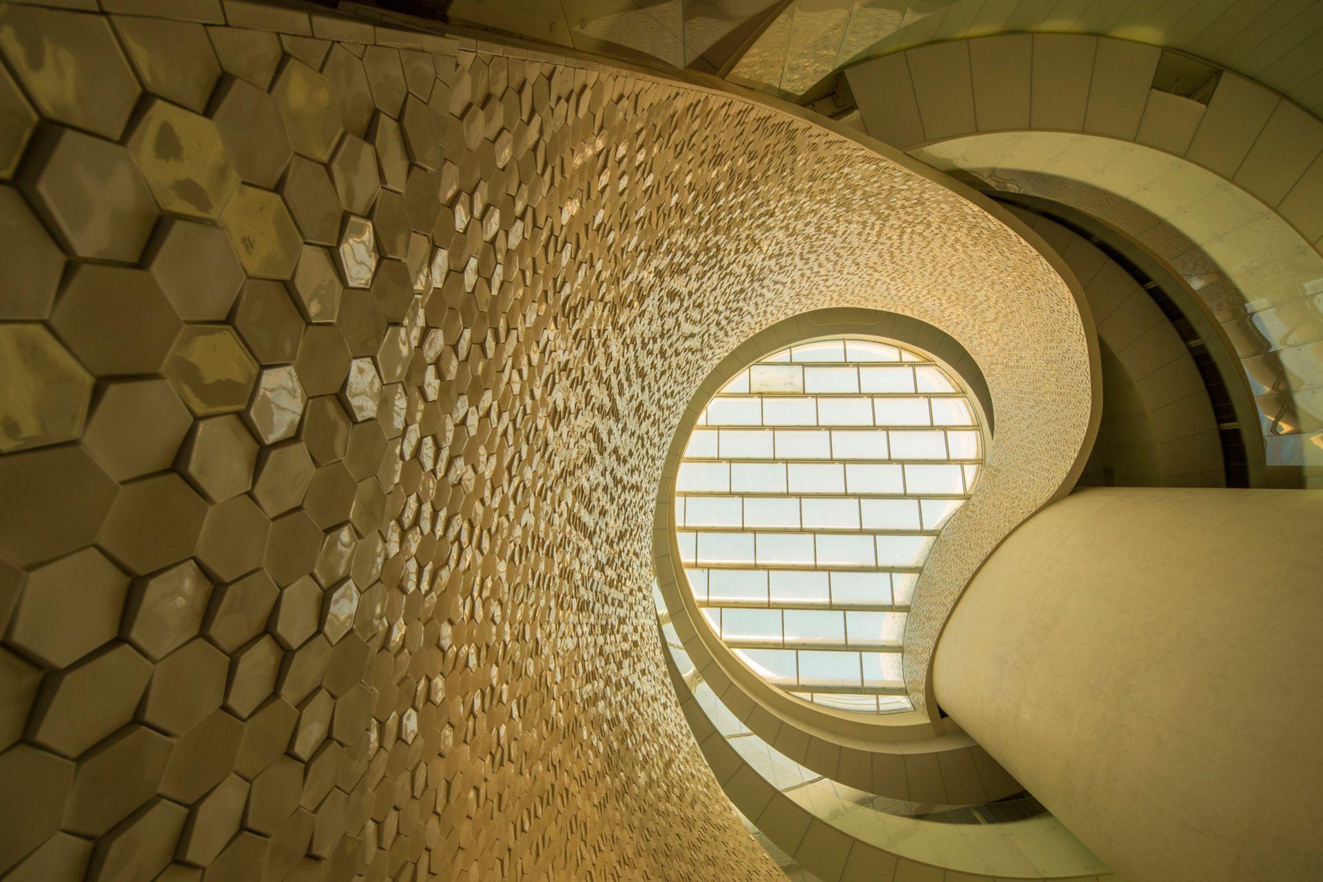 Hexagon shaped tiles on facade of Leixoes Cruise Terminal in Porto