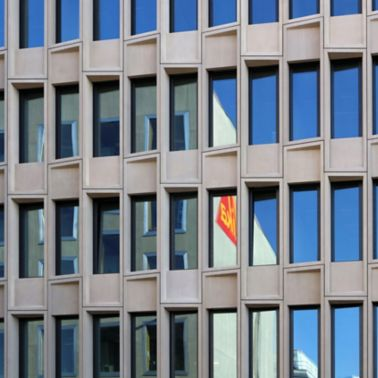 Facade of Sika office building in Zurich
