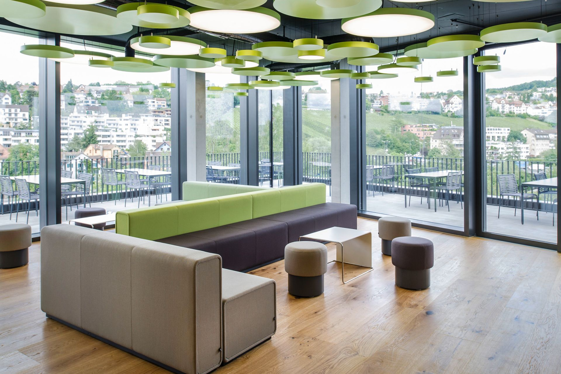 Canteen with terrace in Sika office in Zurich