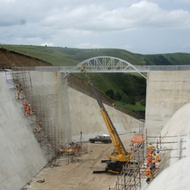Construction works at Ludeke Dam in South Africa