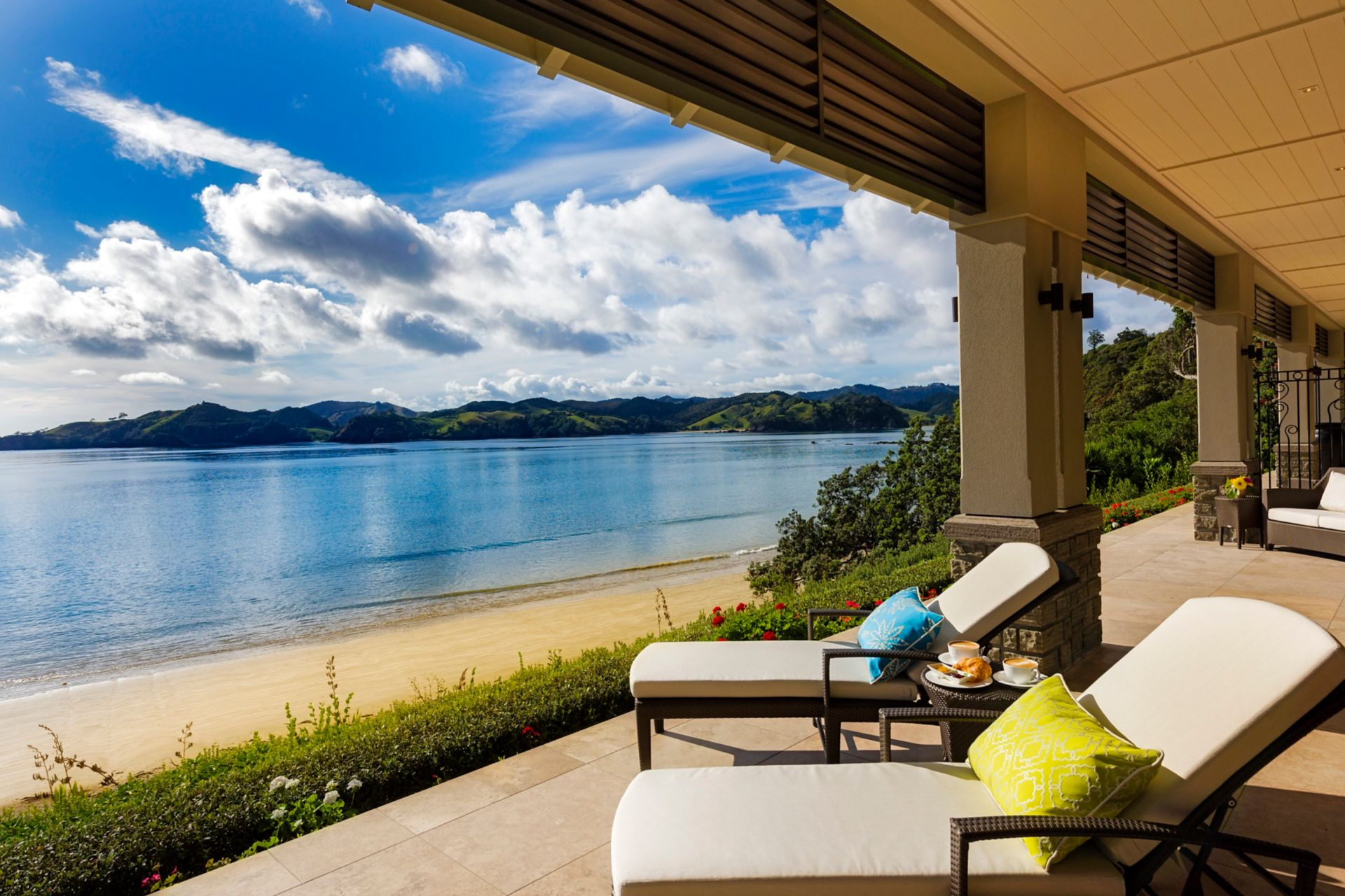 Trace with Helena Bay view in luxury lodge in New Zealand