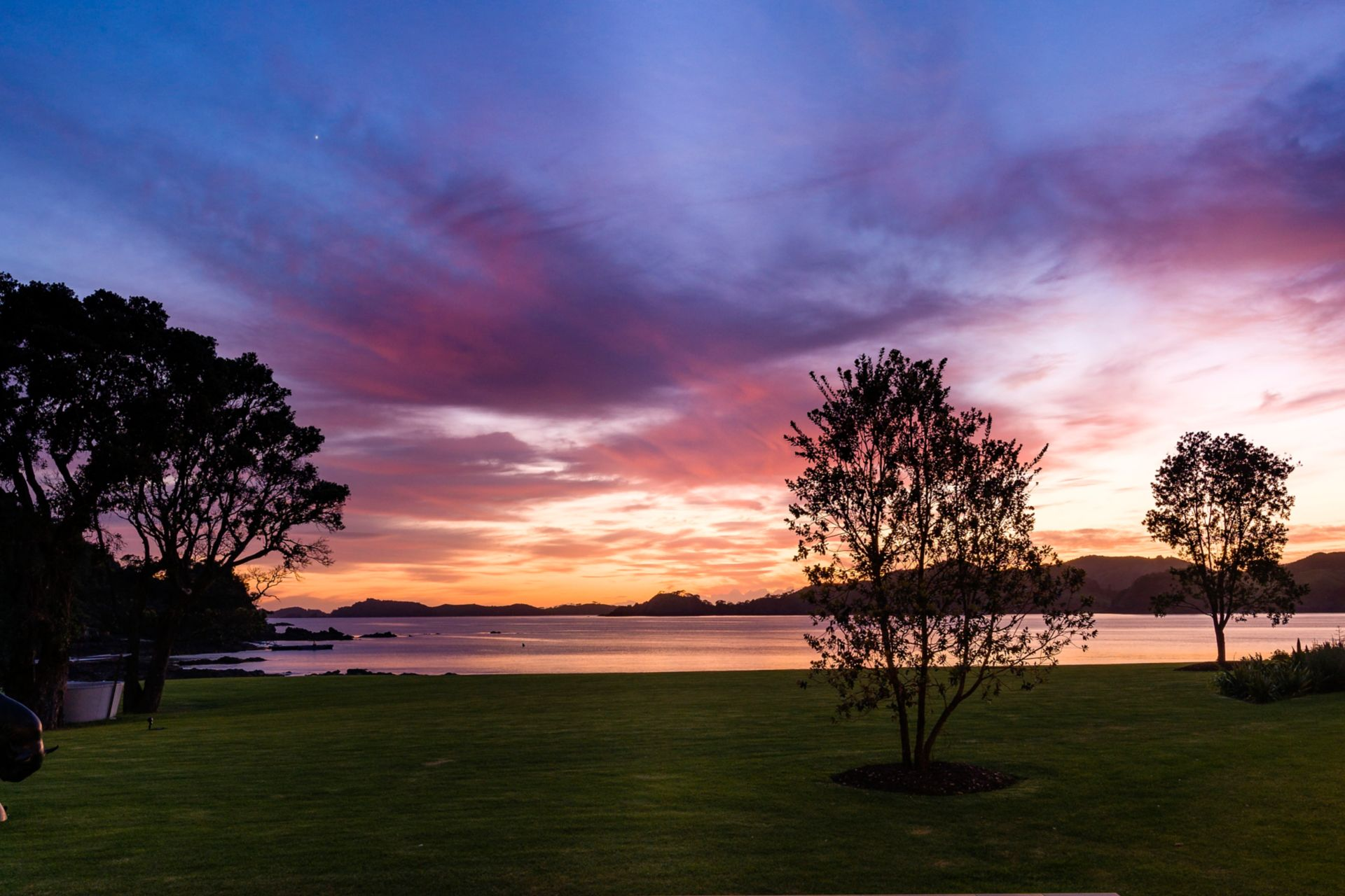 Sunset view from luxury lodge in New Zealand