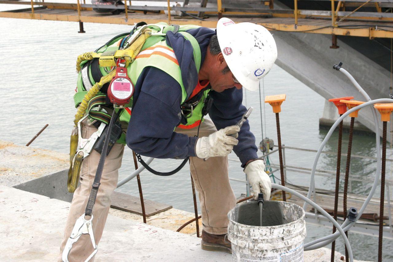 Man working at a bridge construction