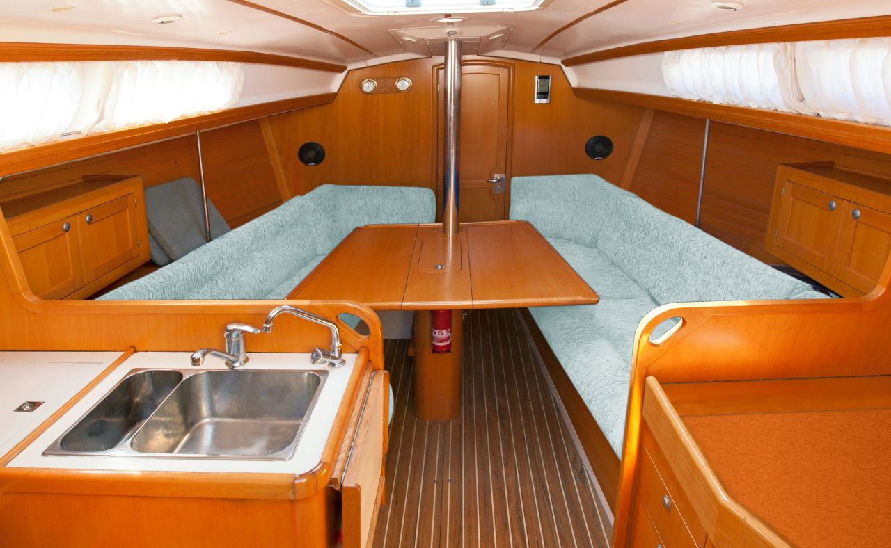 Interior of a yacht showing sealant applications