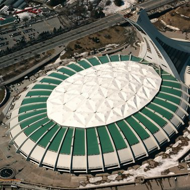 Single-ply roof PVC membrane of Sarnafil adhered roofing system installed on Montreal Olympic Stadium