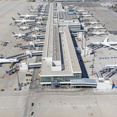 Single-ply roof FPO membrane of Sarnafil installed on Terminal 2-Satellite at Munich Airport in Germany