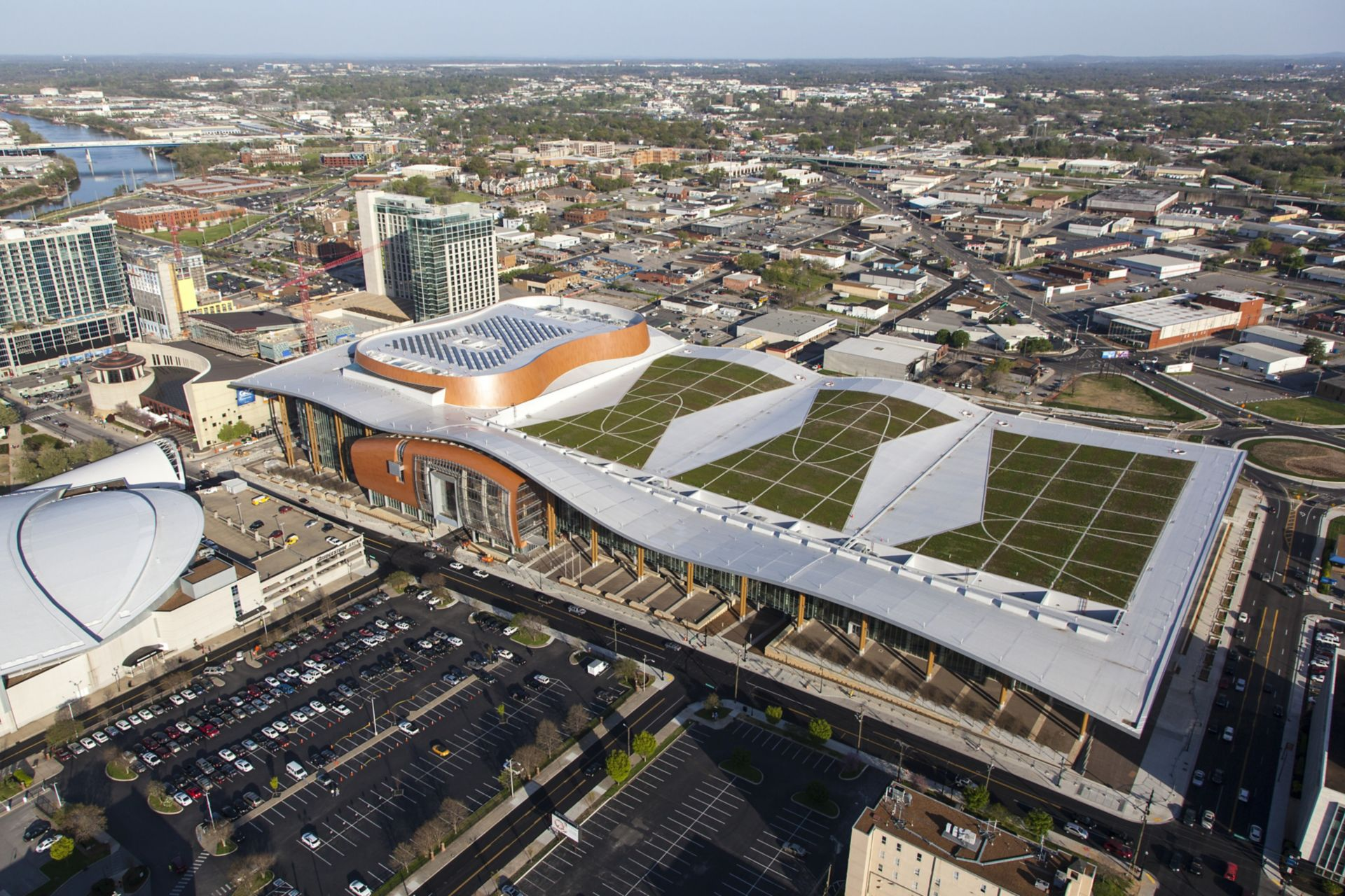Green roof with single-ply membrane installed on Music City Center in Nashville in USA