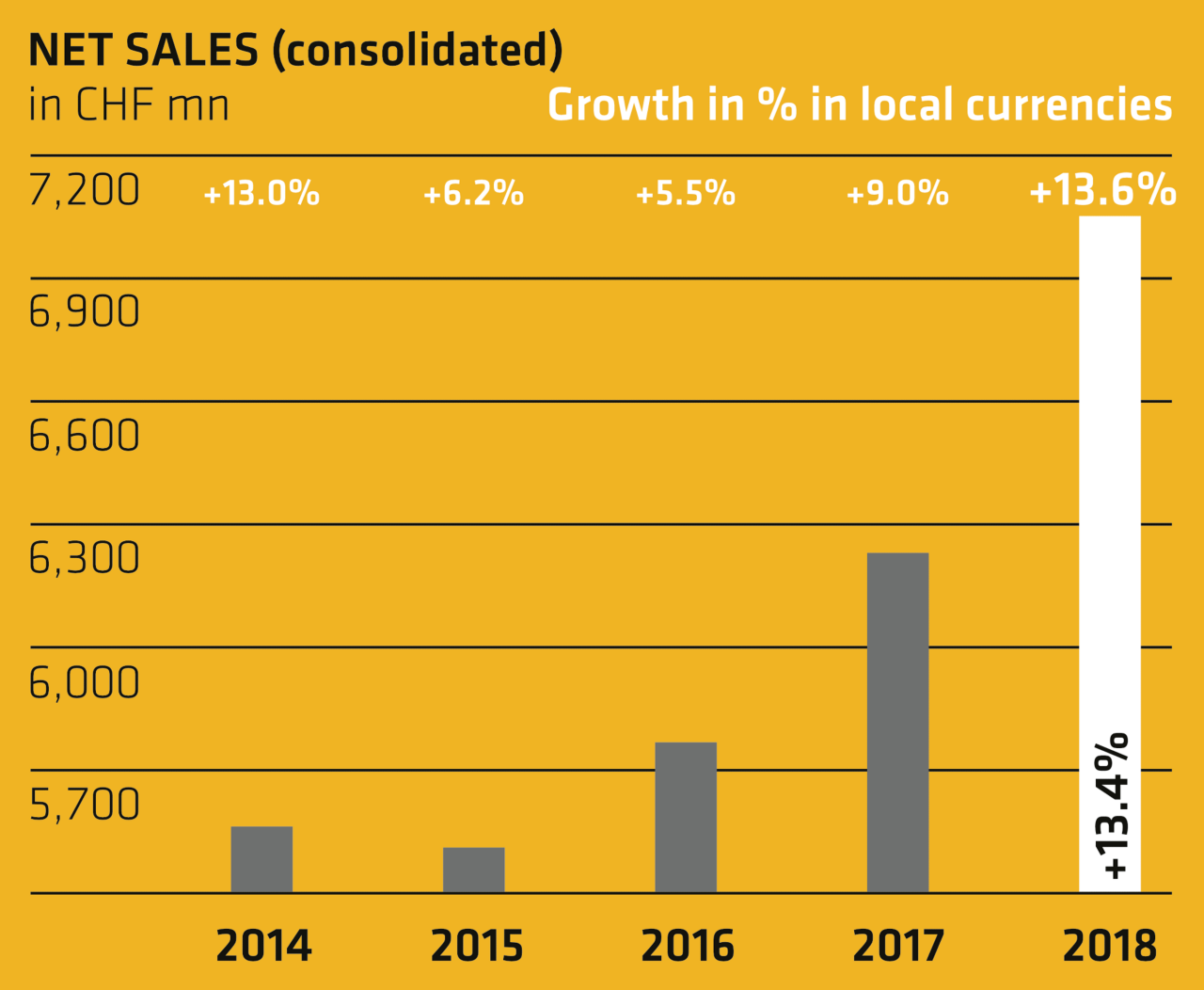 Net sales (consolidated) - Annual Report 2018