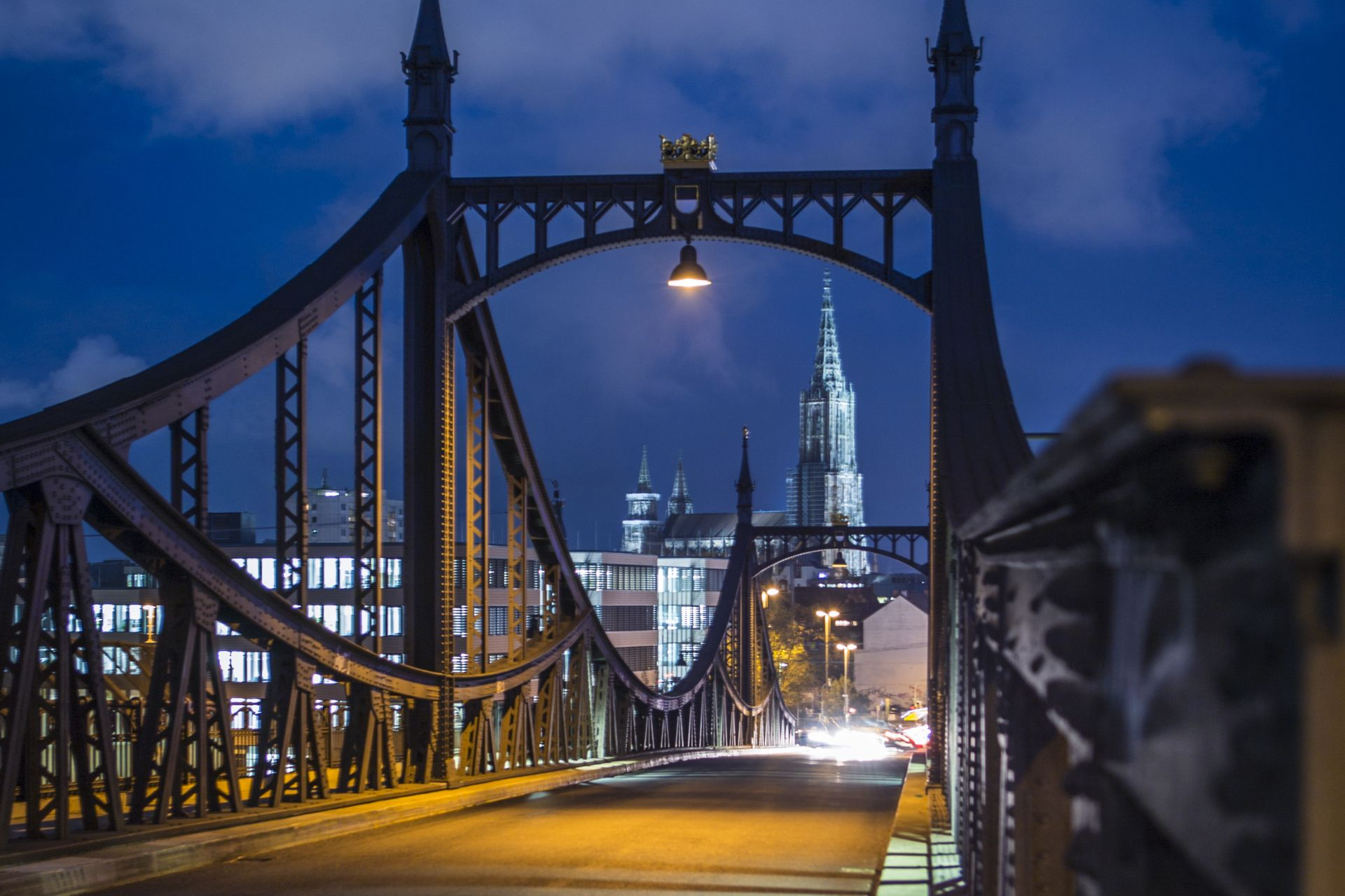 Neutorbridge at night in Ulm, Germany