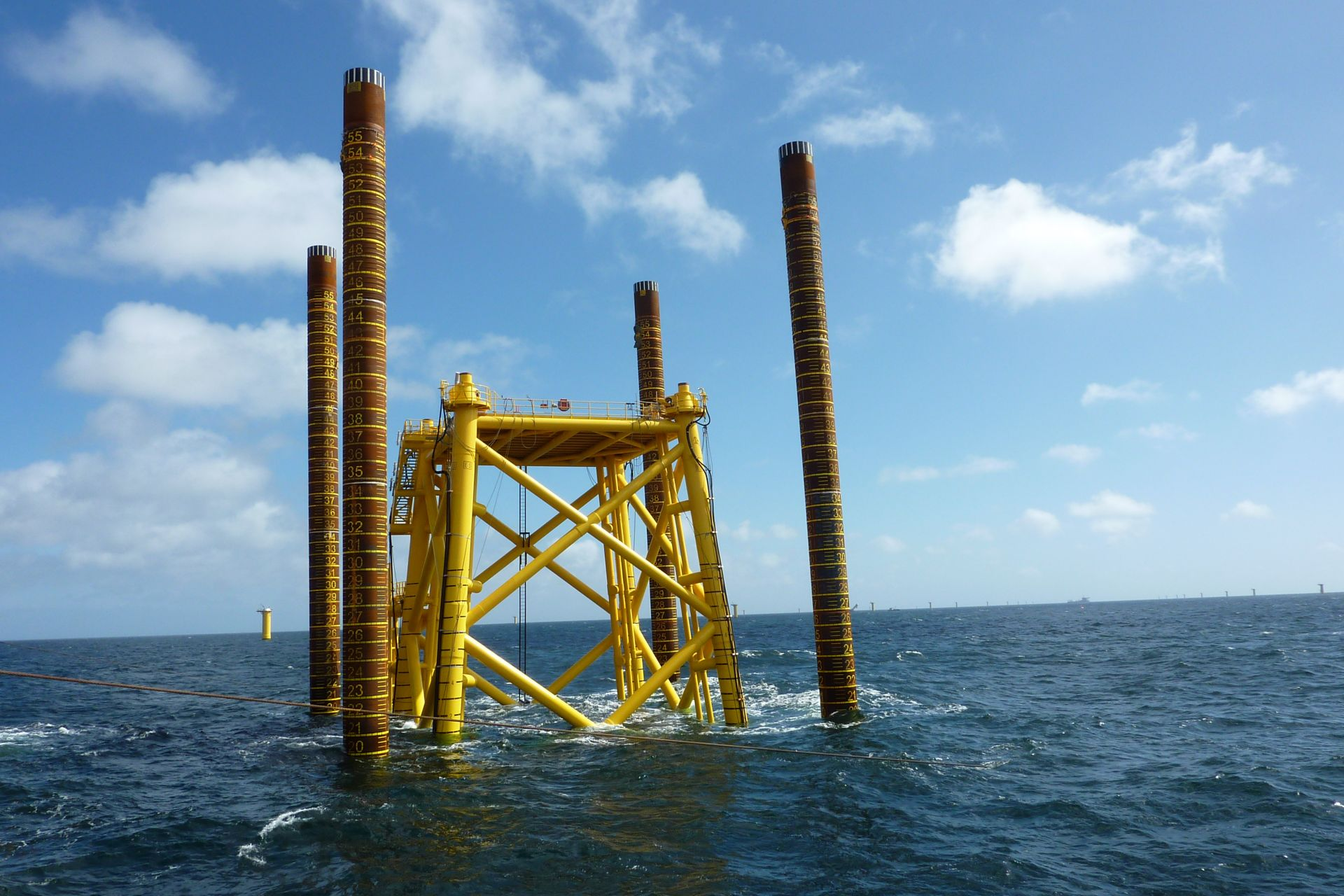 Grouting 4 legged offshore substation structure in the German sector of the North Sore