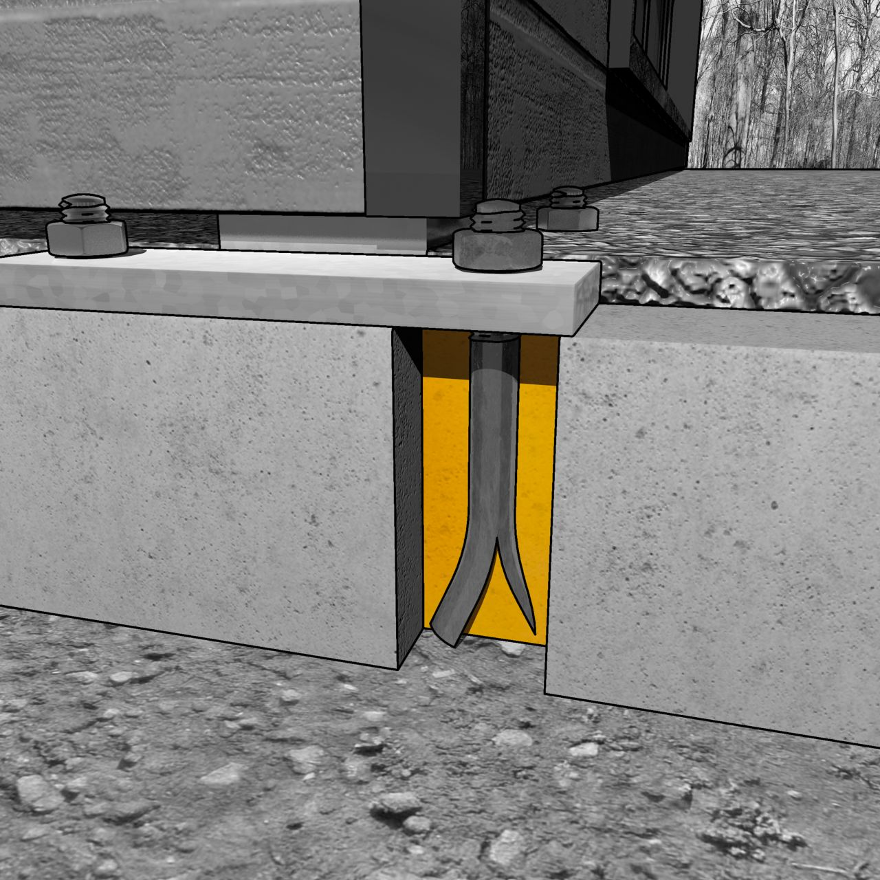 Illustration of bolt anchoring at foundation for offsite construction