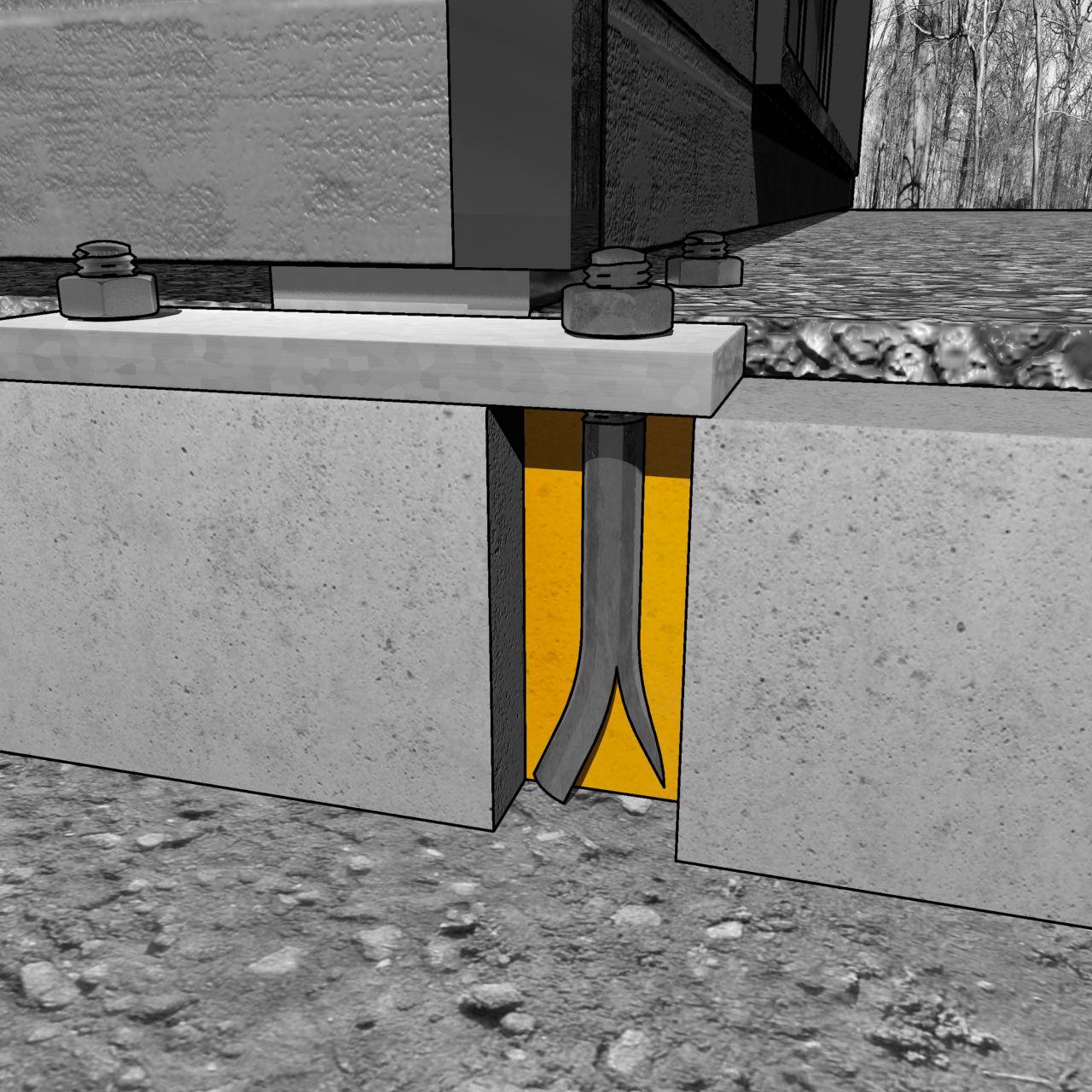 锚定的螺栓的例证在非现场建筑的基础的