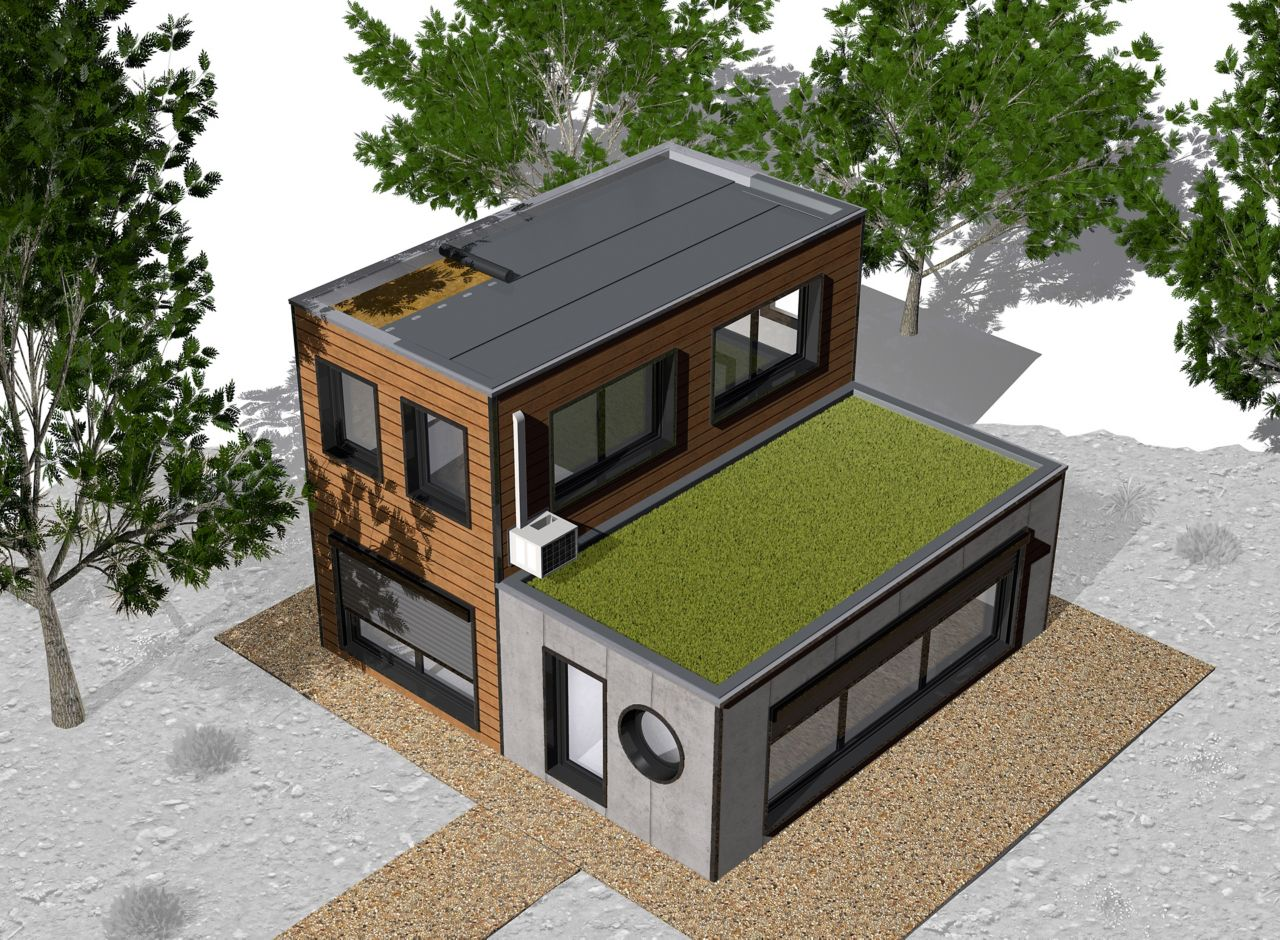 Illustration of modular building home with green roof and roof membrane installation for offsite construction