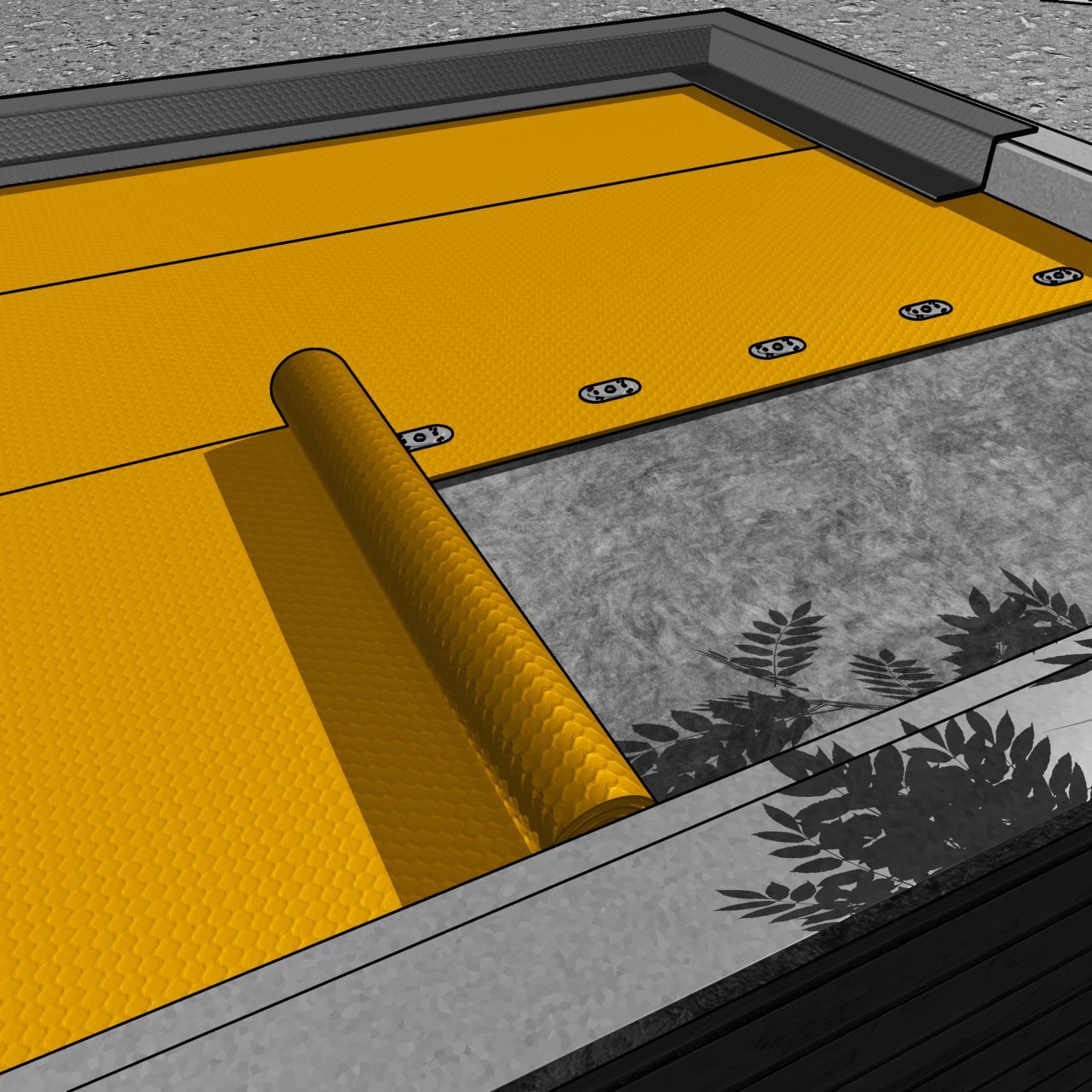 Illustration of roofing membrane installation for offsite construction