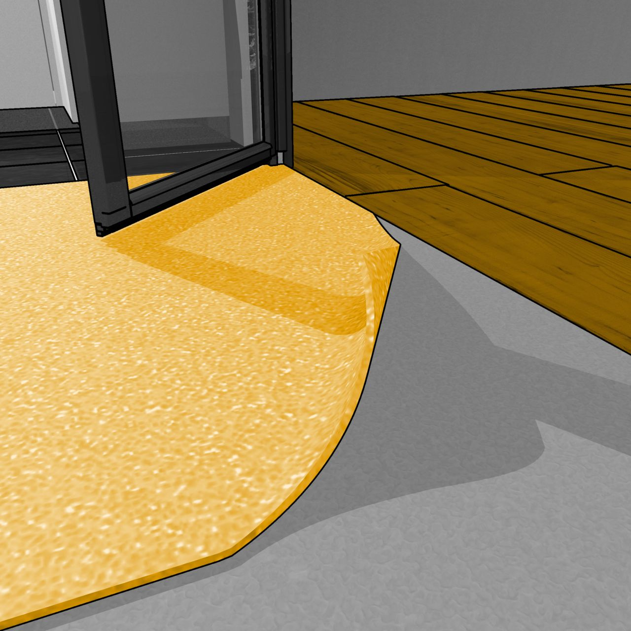 Illustration of interior kitchen floor adhesive application during offsite construction