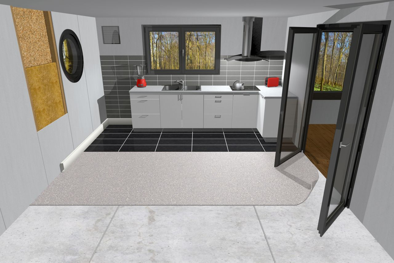Illustration of interior kitchen modular building during offsite construction