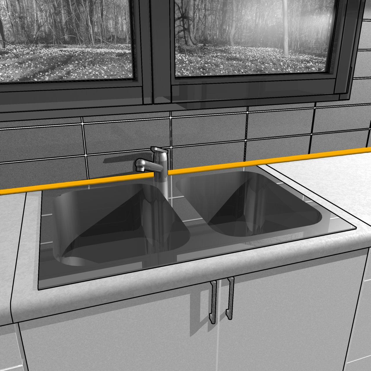 厨房水槽关节密封剂的例证非石头建筑的