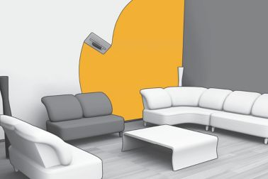 Illustration of wall leveling for interior finishing in living room with sofas