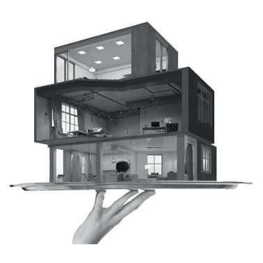 Illustration of modular building home on tray held by hand