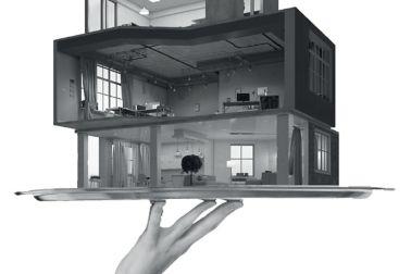 用手握住的托盘上的模块化建筑家的插图