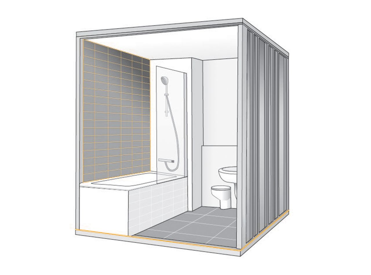 Illustration of joint sealant and grout for bathroom shower pod unit for offsite construction