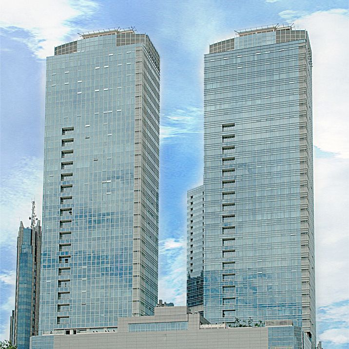 Two Buildings with glass facade