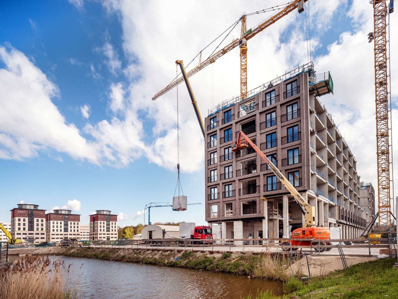 Construction site of the Ourdomain new build apartments in Amsterdam, Netherlands