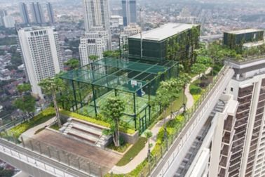 The green roof of the Pakubuwono Rooftop in Jakarta