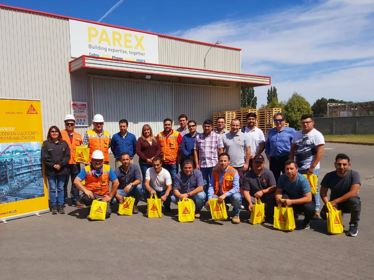 Training for Sika customers at the Parex plant