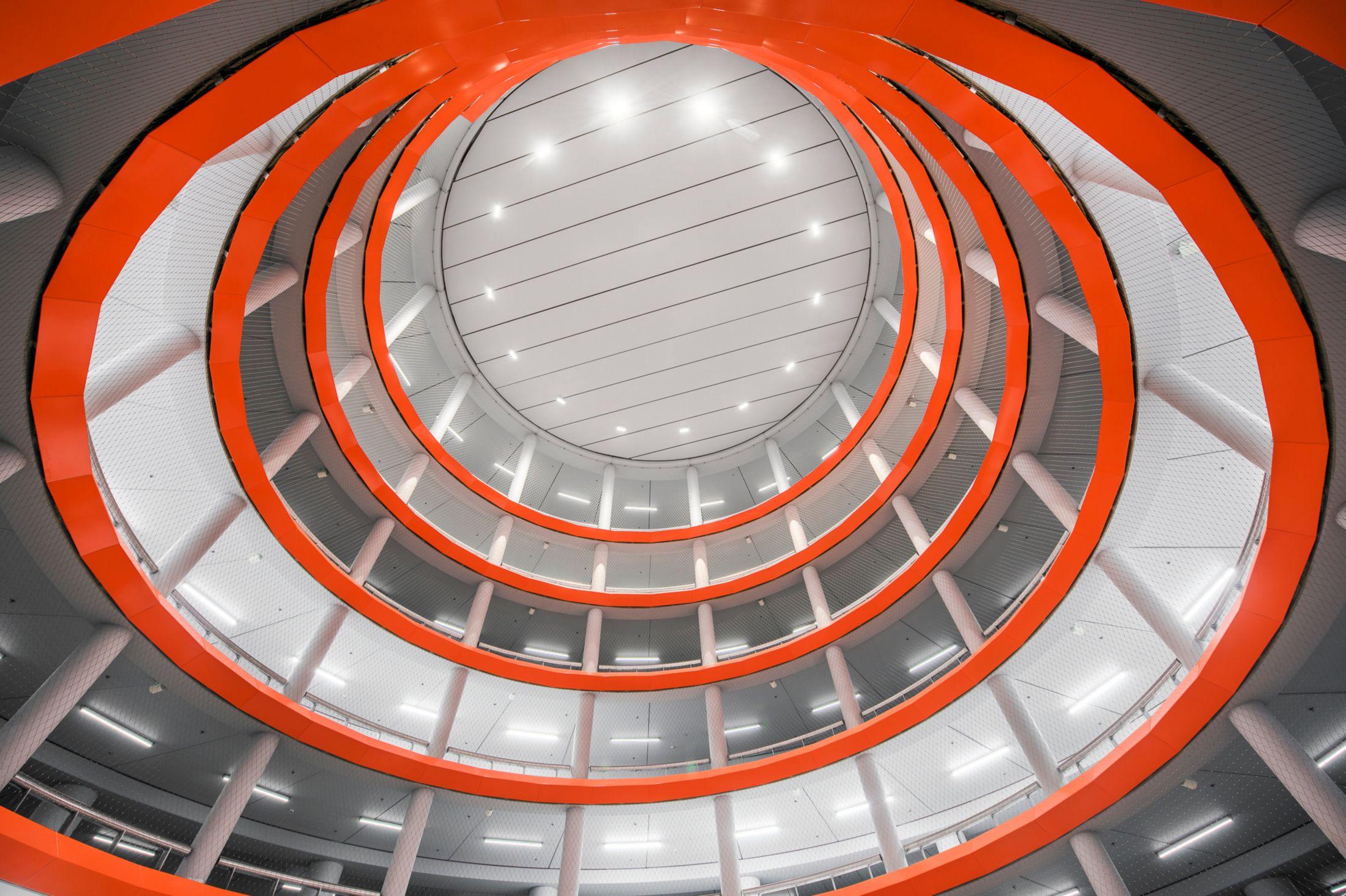 Architecture of Parking Garage Lammermarkt in Leiden Netherlands