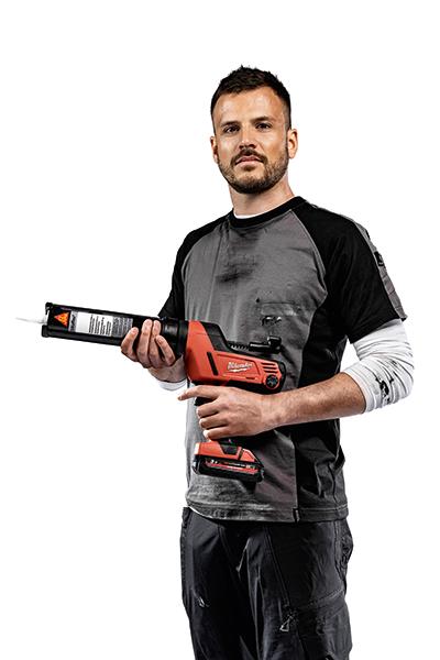 Person presenting gun with Sikaflex®- 521 UV