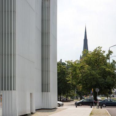 White facade on Szczecin Philharmonic Hall in Poland