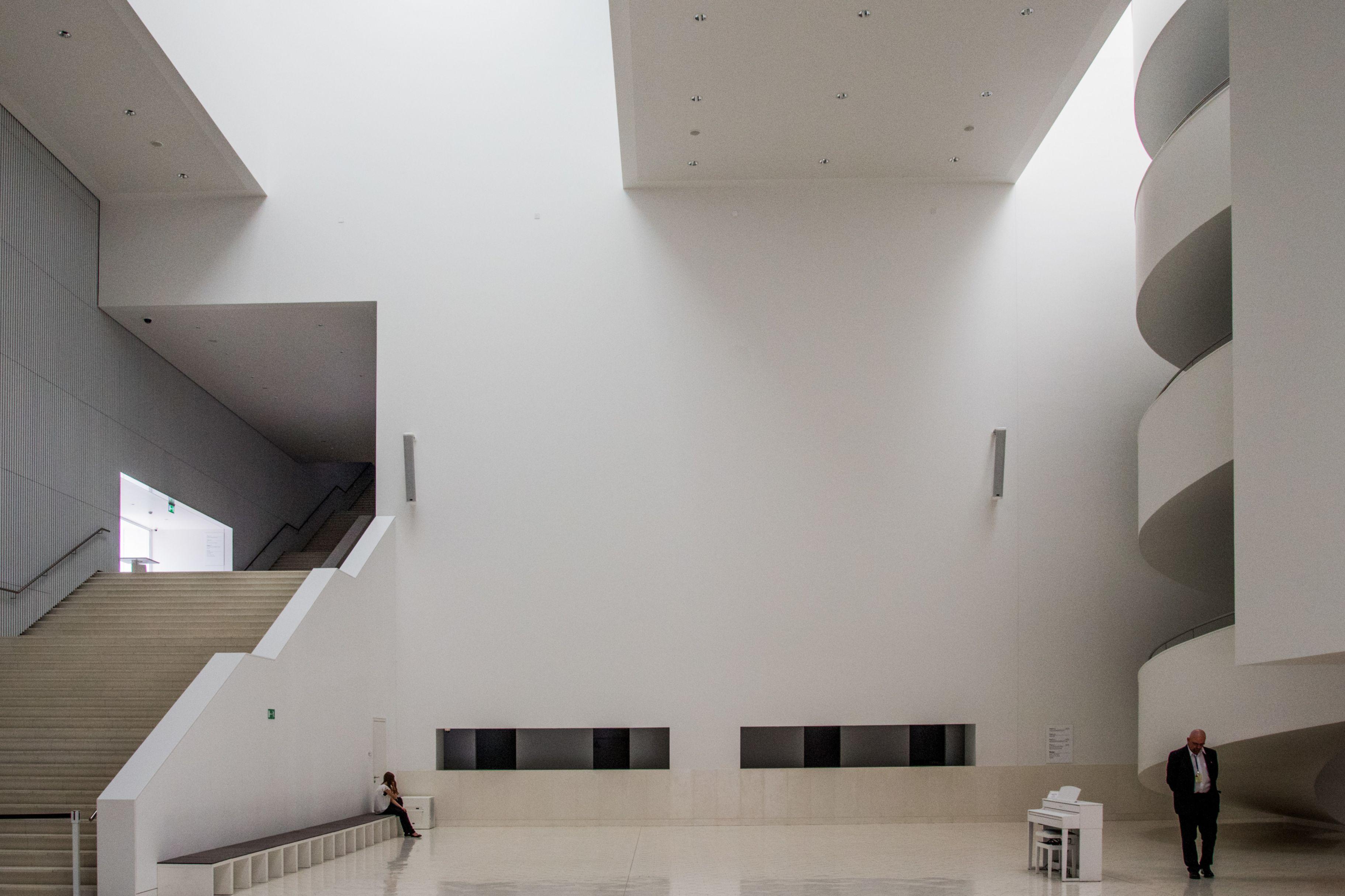 White interior of Szczecin Philharmonic Hall in Poland