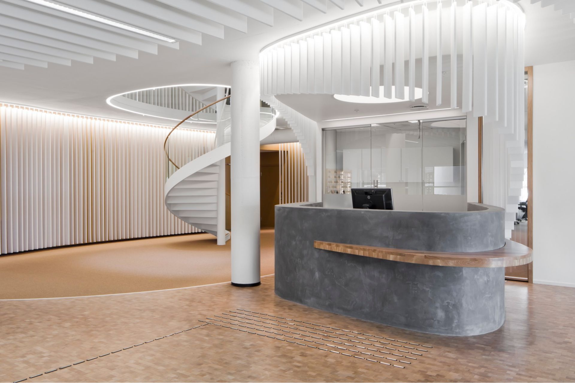 Reception desk in office of Kjorbo powerhouse in Norway