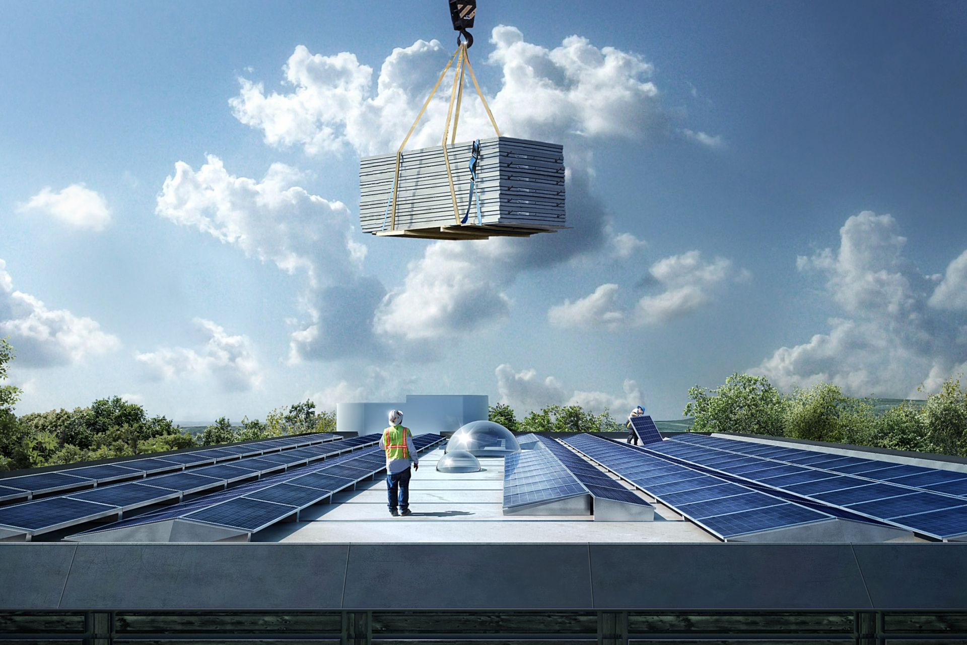 Installing solar panels on roof of Kjorbo powerhouse in Norway