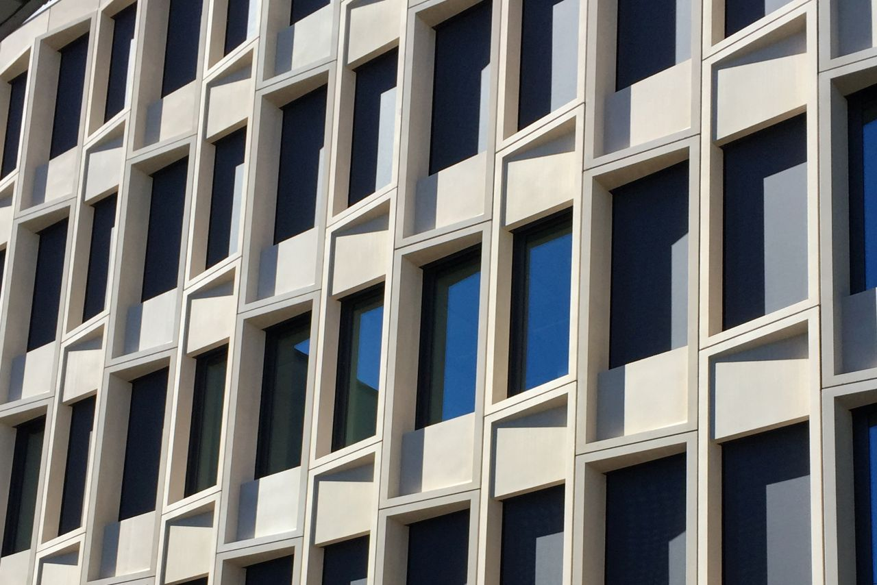 Precast colored concrete facade with Sika concrete admixtures at Limmat building in Zurich