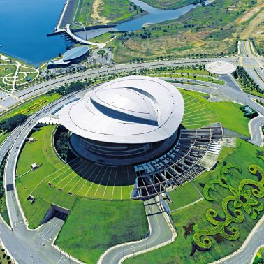 Single-ply roof PVC membrane of Sarnafil adhered roofing system installed on Putrajaya Convention Centre in Malaysia