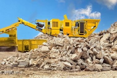Recycling crushed concrete
