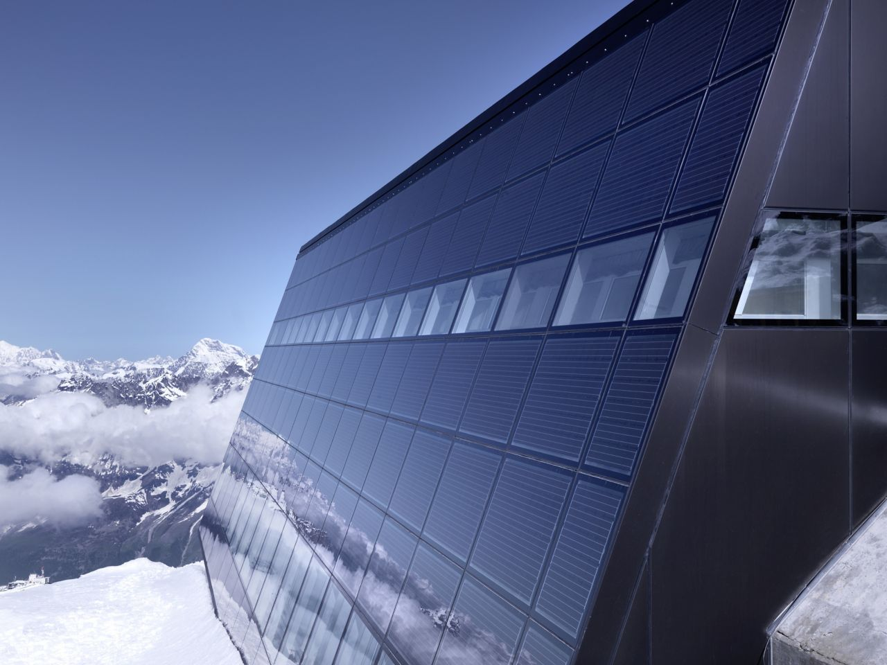 Sika Reference project matterhorn, glaciers paradise building integrated crystalline photovoltaic panel BIPV