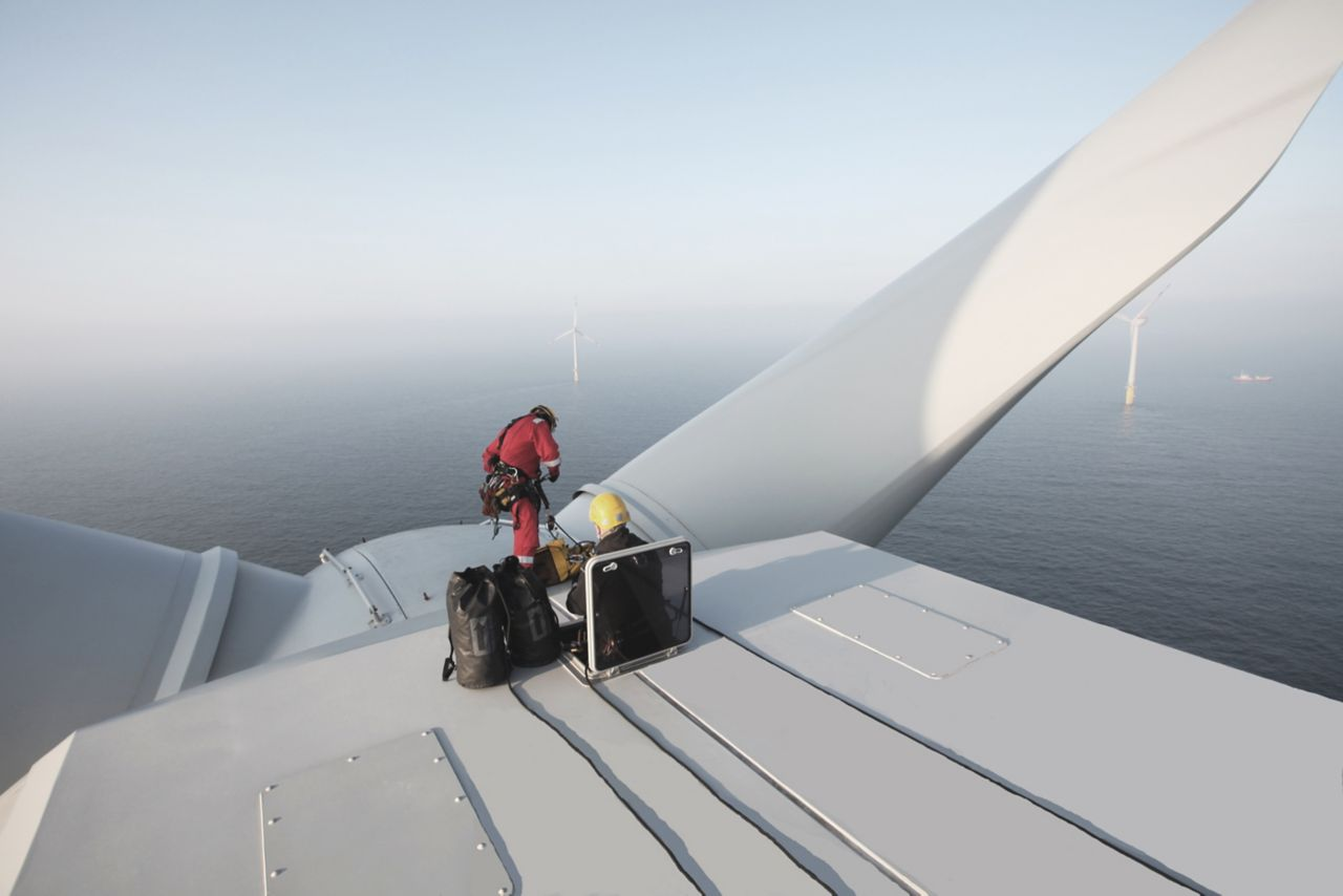 Repair and Maintenance on top of the turbine